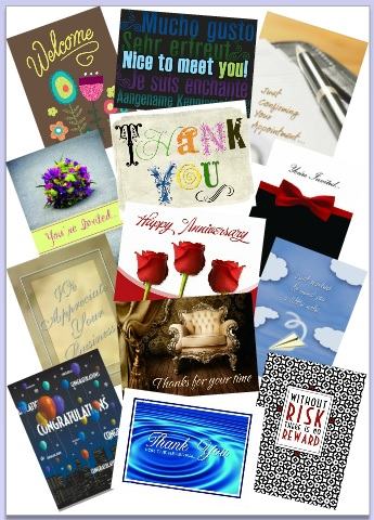 Cards - Collage of cards for business and Thank you card